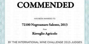 72100 Negramaro Salento 2013 miglior vino all'International Wine Challenge 2015 Judges